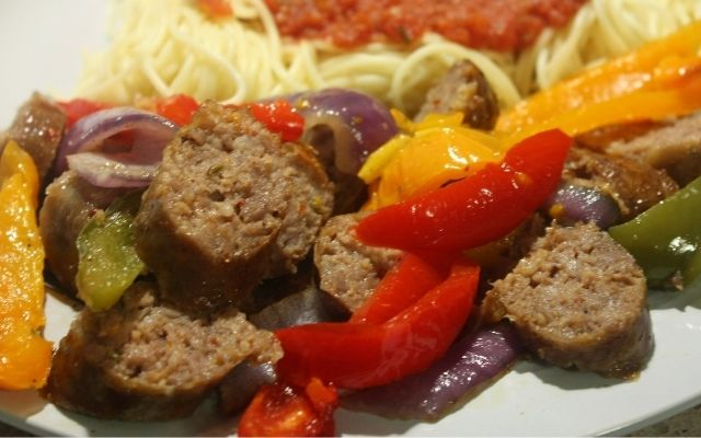 Sausage Peppers Onions Recipe in the Pressure Cooker