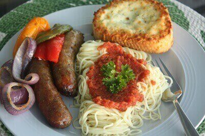 Sausage Peppers Onions Pasta Plated