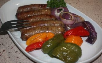 Sausage Peppers Onions Plated