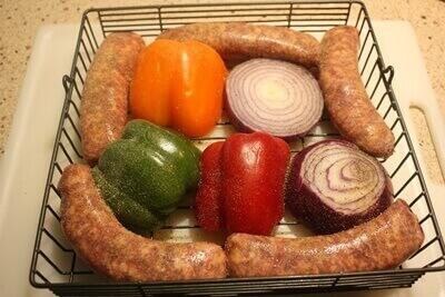Sausage Peppers Rotisserie Basket