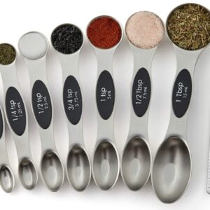 Measuring Spoons Set, Dual Sided, Stainless Steel, Fits in Spice Jars, Set of 8-4