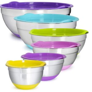 Mixing Bowls-Stackable 6-Bowl Set-Non-Slip Silicone Bottom