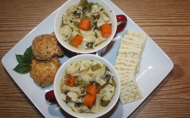Homemade Chicken Noodle Soup for two