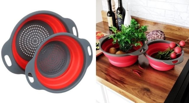 Unusual Kitchen Gadgets Collapsible Colanders Strainers Set