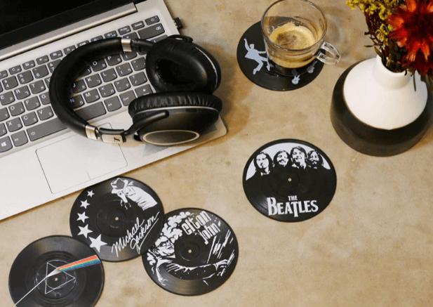 Vinyl Record Drink Coaster Set of 6 Coasters